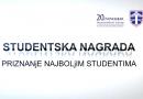 Donešena Odluka o dodjeli studentske nagrade za 2020. godinu
